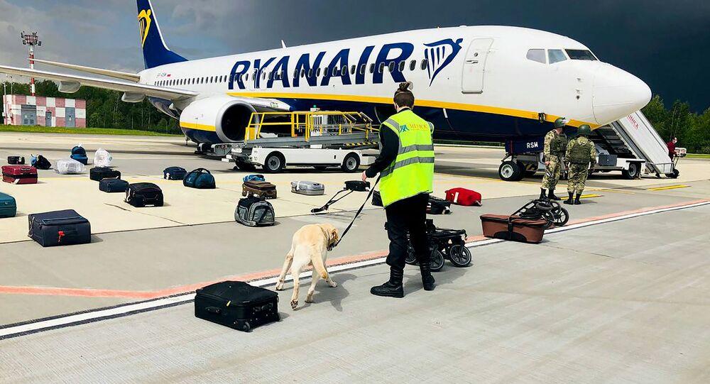 Un avion de Ryanair à l'aéroport de Minsk