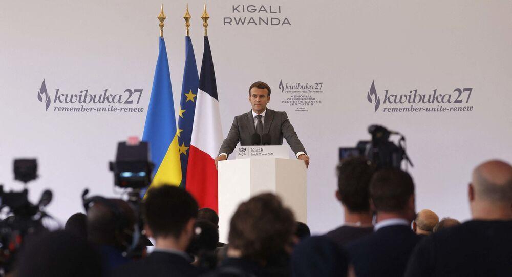 Emmanuel Macron lors de son discours depuis le mémorial du Génocide de 1994, le 27 mai 2021