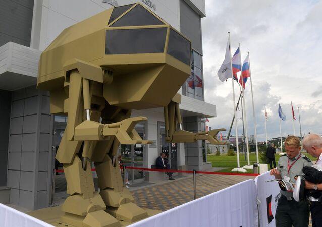 Un prototype du robot Igorek présenté par le groupe russe Kalachnikov lors du salon Armée 2018
