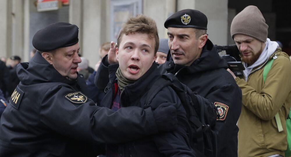 Interpellation de Roman Protassevitch à Minsk lors d'une manifestation en 2017 (archive photo)