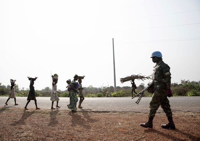 Les forces de la MINUSCA en patrouille à proximité de Bangui, 2021