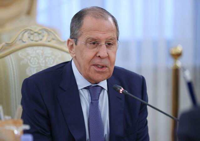 Des négociations entre les ministres russe et portugais des Affaières étrangères, Sergueï Lavrov et Augusto Santos Silva, le 31 mai 2021