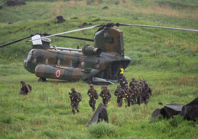 Des soldats français lors d'un exercice conjoint avec des militaires japonais et américains au Japon, mai 2021