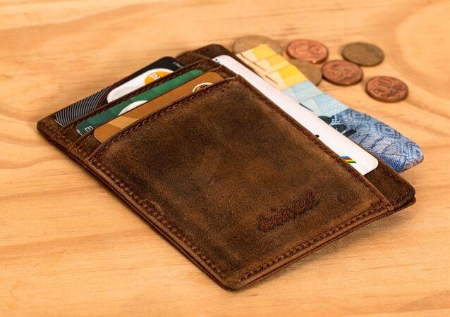 Un porte-monnaie avec des cartes. Image d'illustratiion