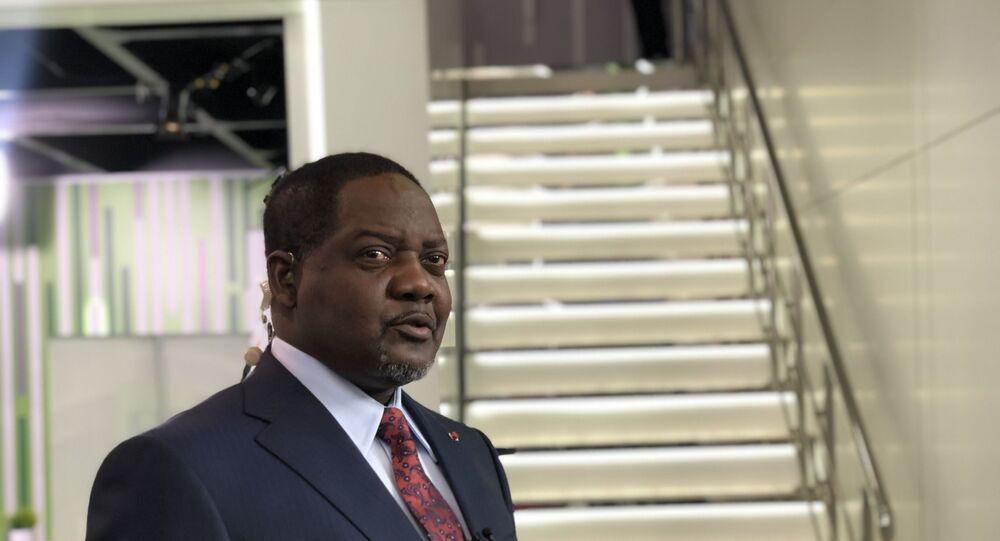 Firmin Ngrebada, Premier ministre de la République centrafricaine au Forum économique international de Saint-Pétersbourg 2021