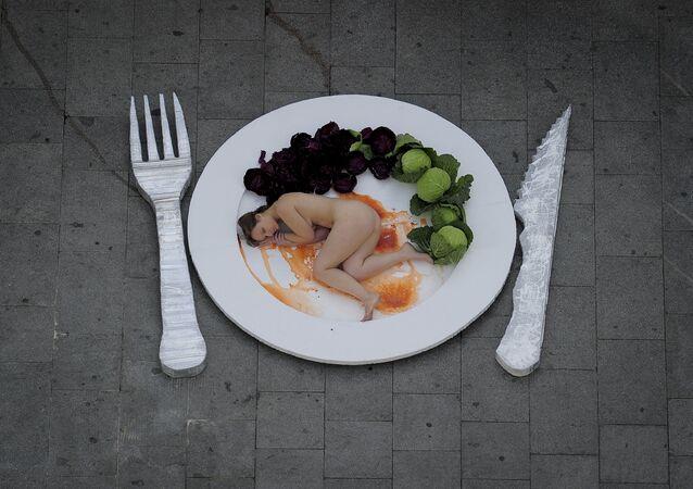 Une manifestation vegan contre la consommation de viande à Barcelone, décembre 2011