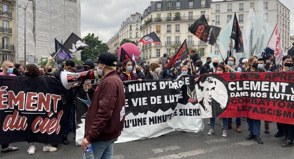 Une manifestation en mémoire de Clément Méric à Paris, le 5 juin 2021