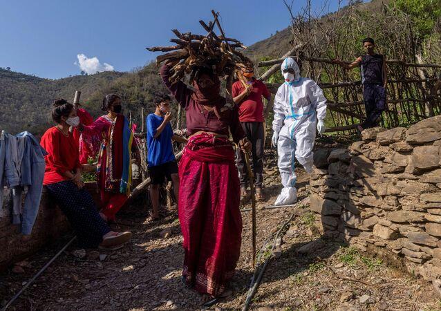 Test Covid dans un village indien