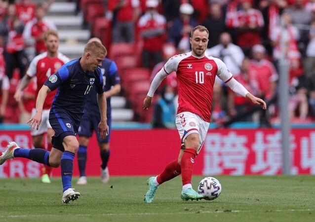 Christian Eriksen lors du match Danemark-Finlande à l'Euro 2020