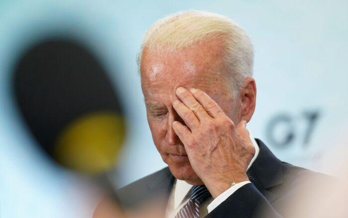 Le Président Biden lors d'une conférence de presse à l'issue du sommet du G7 (13 juin 2021)