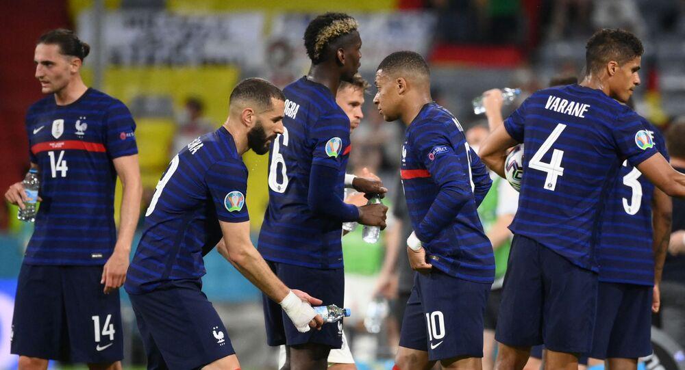 Les Bleus, lors du match avec l'équipe d'Allemagne, lors de l'Euro 2020