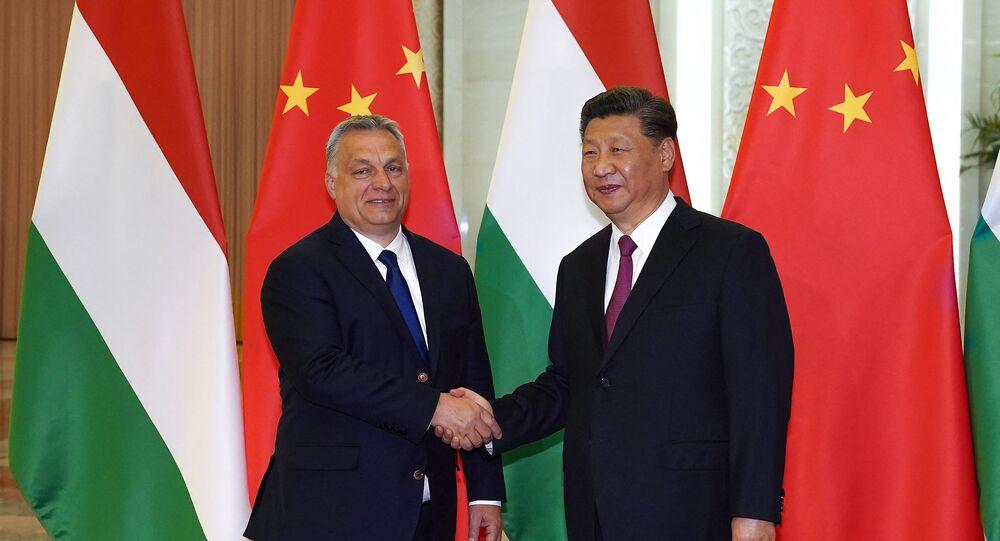 Viktor Orban et Xi Jinping à Pékin en 2019 (Photo de Andrea VERDELLI / POOL / AFP)