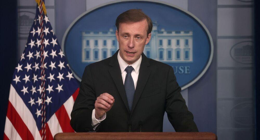 Conseiller américain à la Sécurité nationale Jake Sullivan à une conférence de presse à Washington, Juin 2021