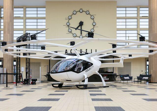 Le VoloCity de Volocopter exposé au musée de l'air et de l'espace au Bourget lors du Paris Air Forum