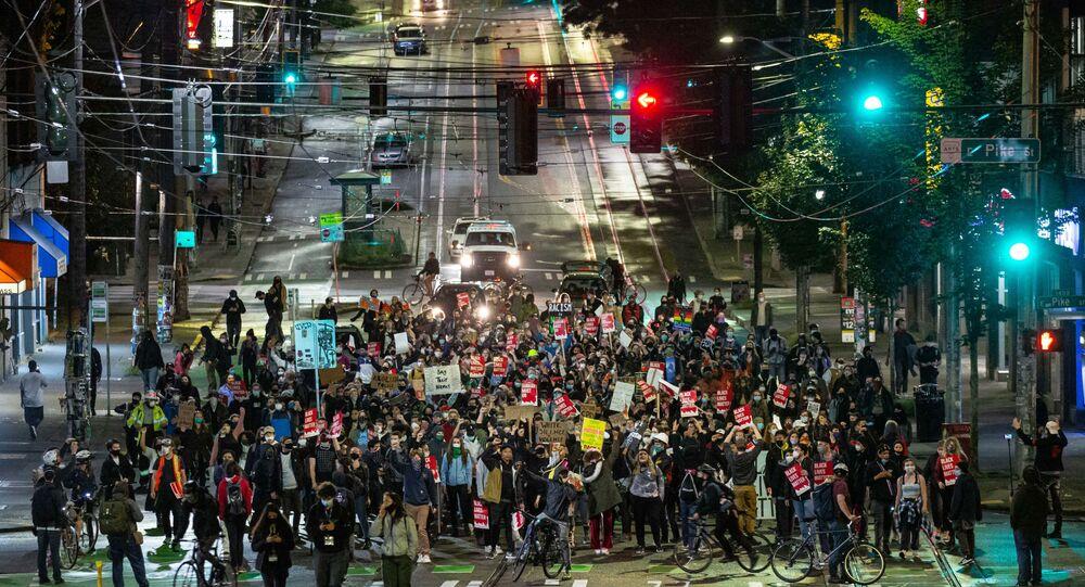 Une manifestation BLM à Seattle, le 9 juin 2020