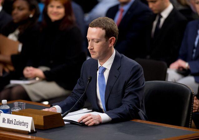 Le CEO de Facebook Mark Zuckerberg entendu par le Congrès américain sur la fuite de données personnelles de dizaines de millions d'utilisateurs du réseau social, avril 2018