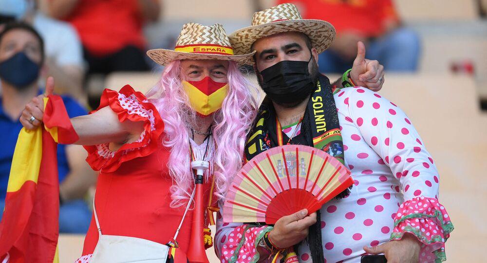 Des supporters espagnols à l'Euro 2020, juin 2021