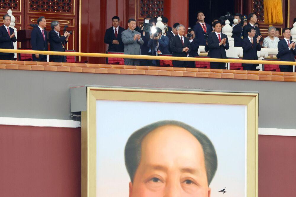 Le Président chinois Xi Jinping lors du 100e anniversaire du Parti communiste chinois, le 1er juillet 2021 à Pékin
