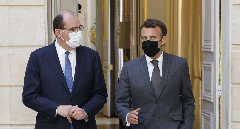 Le Président de la République Emmanuel Macron et le Premier ministre Jean Castex à l'Elysée, juin 2021