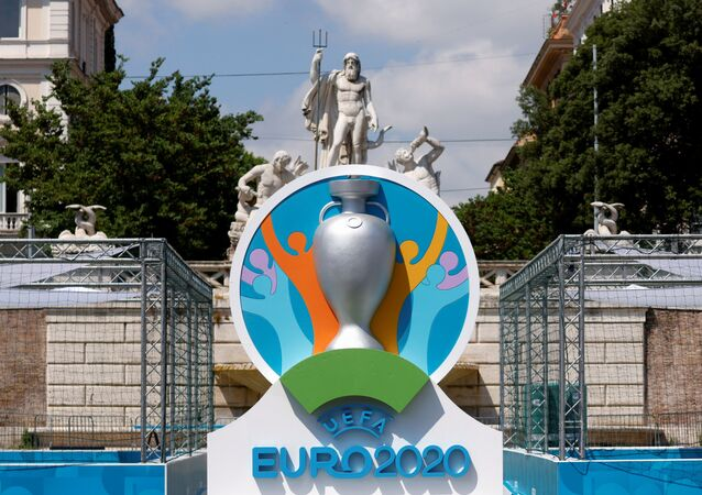 The logo of UEFA Euro 2020 is seen at the fan zone at Piazza del Popolo in Rome, Italy, June 7, 2021