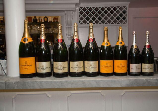 Bouteilles de vins de Champagne de Moët Hennessy
