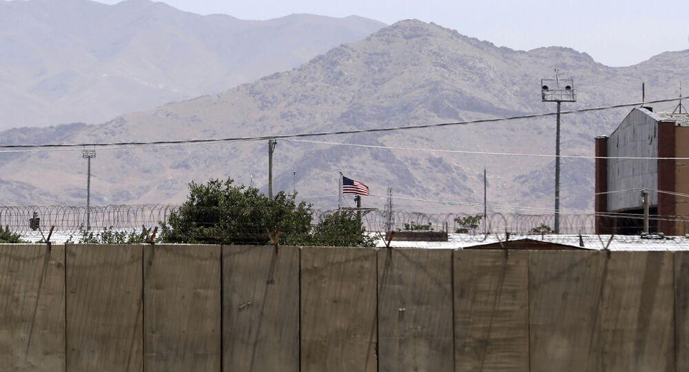Le drapeau américain flotte sur la base aérienne de Bagram, en Afghanistan, vendredi 25 juin, 2021.