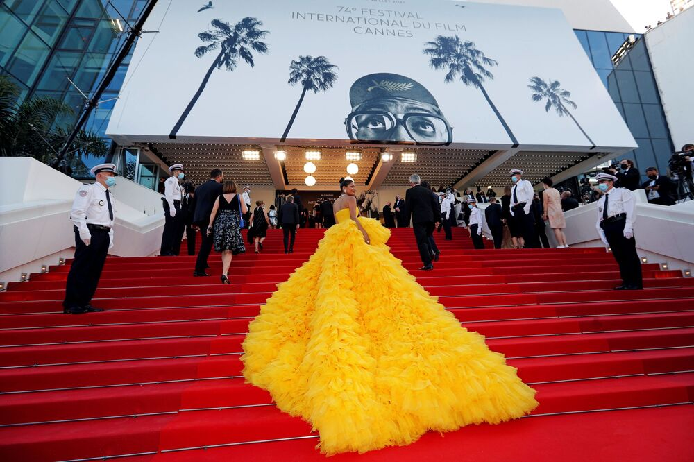 Les marches du Festival de Cannes le jour de l'ouverture, le 6 juillet 2021