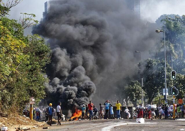Les émeutes et les violences. Durban. Afrique du Sud.