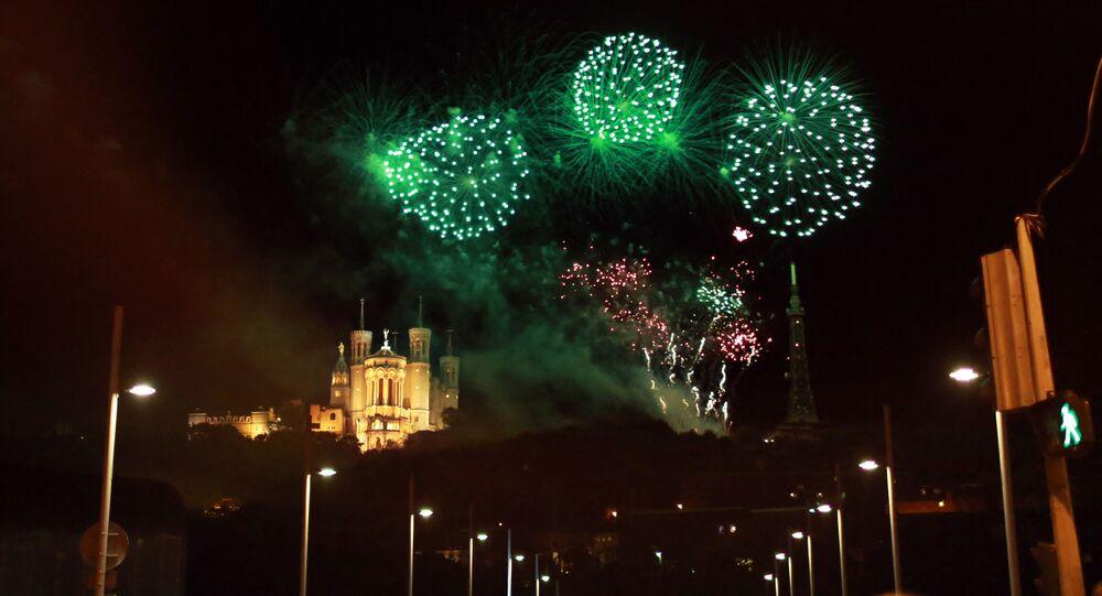 Feux d'artifice à Lyon, France
