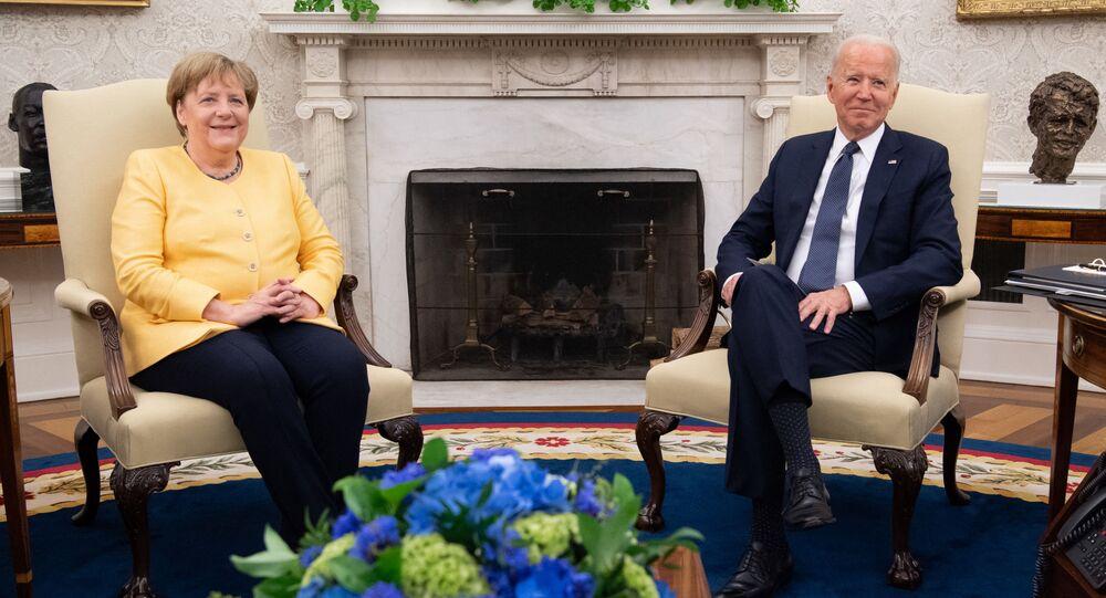 Angela Merkel et Joe Biden à la Maison-Blanche (Photo de SAUL LOEB / AFP)