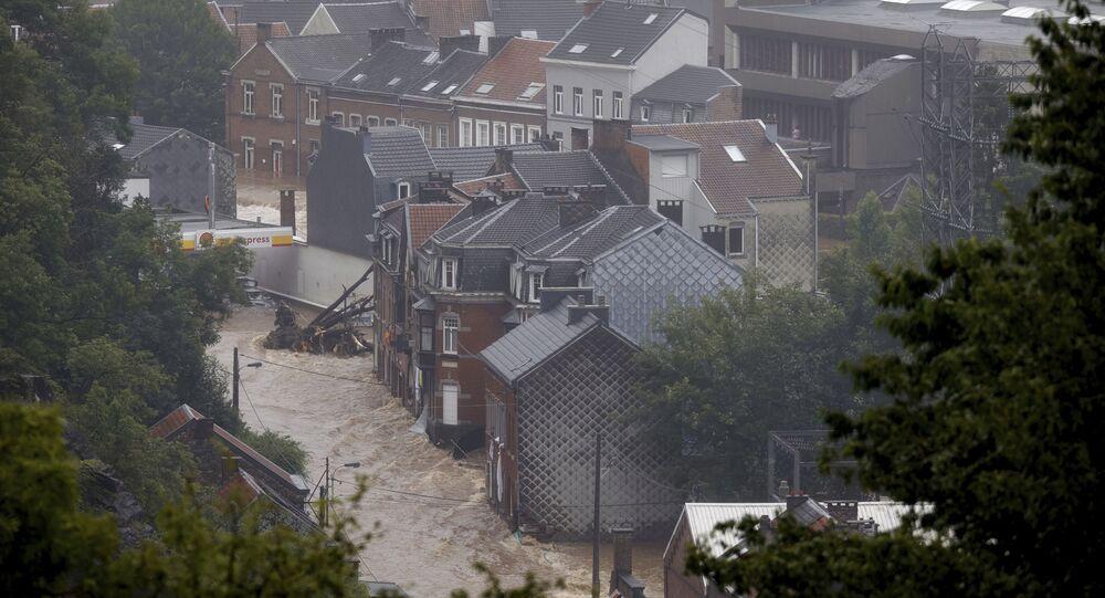 La ville belge de Pepinster sous l'eau, le 15 juillet 2021