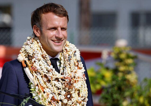 Emmanuel Macron en visite en Polynésie française, le 26 juillet