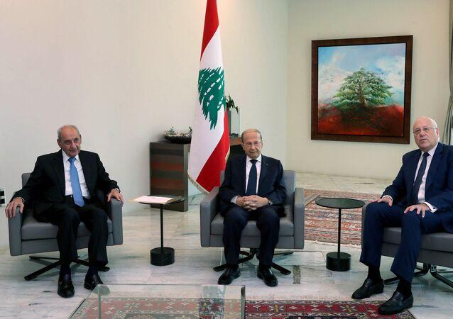 Nabih Berri, Michel Aoun et Najib Mikati
