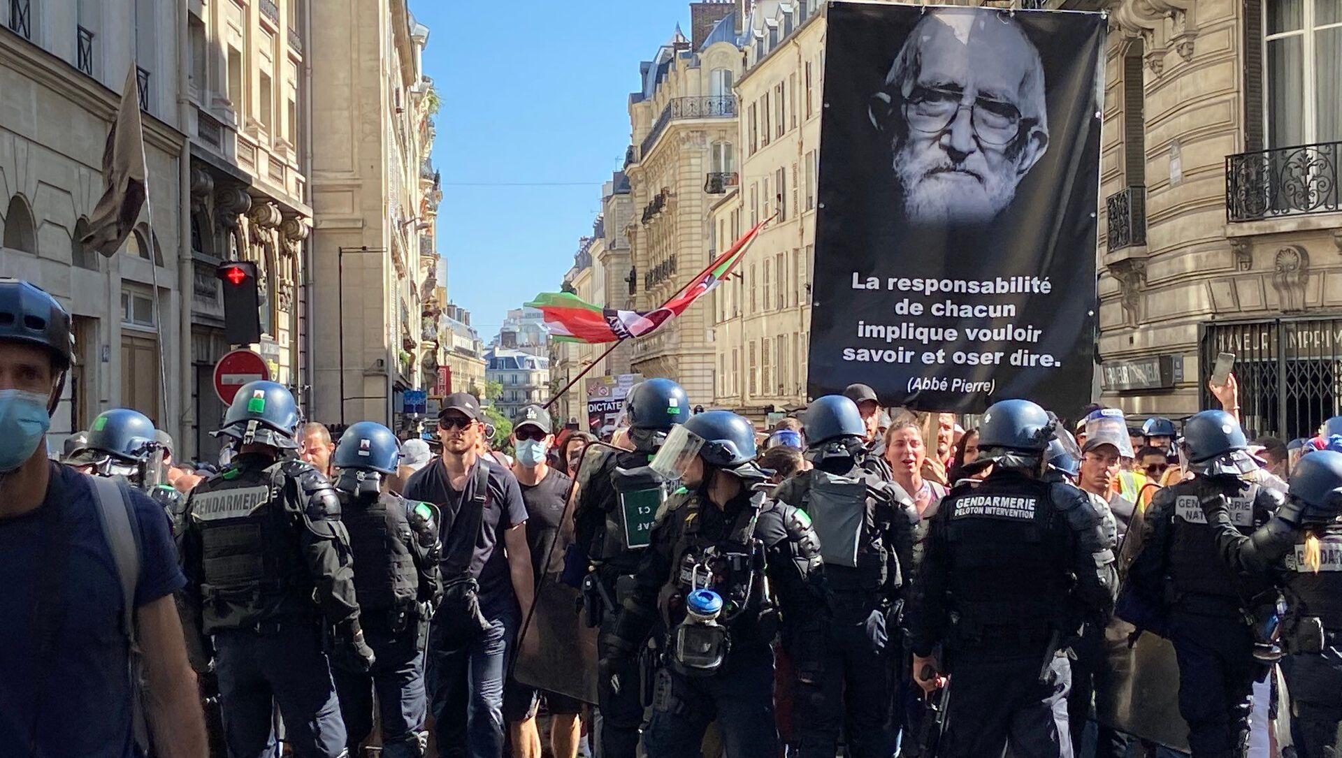 Manifestation contre le pass sanitaire à Paris, 14 août 2021 - Sputnik France, 1920, 15.08.2021