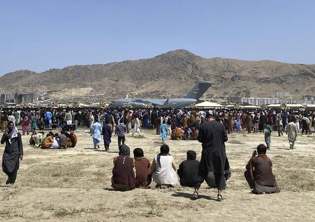 L'aéroport de Kaboul, le 16 août 2021