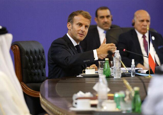 Emmanuel Macron lors d'un déplacement à Bagdad