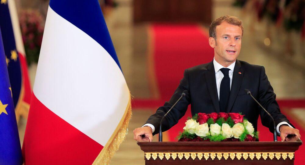 Emmanuel Macron lors de sa conférence de presse avant la conférence de Bagdad, le 28 août 2021
