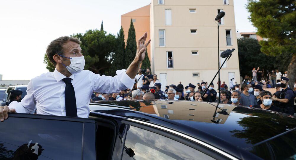 Emmanuel Macron lors de sa visite à Marseille, le 1er septembre 2021