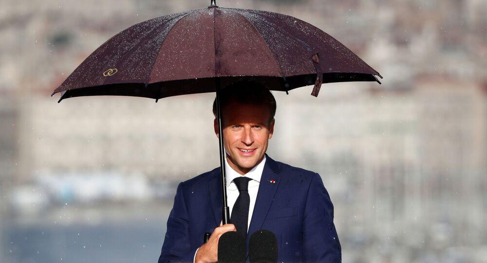 Emmanuel Macron lors de sa visite à Marseille