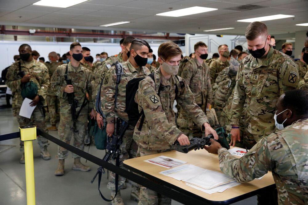 Soldats américains après leur retour d'Afghanistan