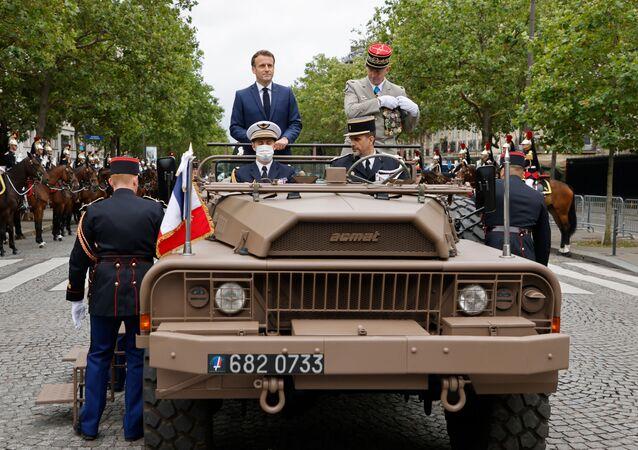 Emmanuel Macron le 14 juillet 2021 (Photo de Ludovic MARIN / POOL / AFP)