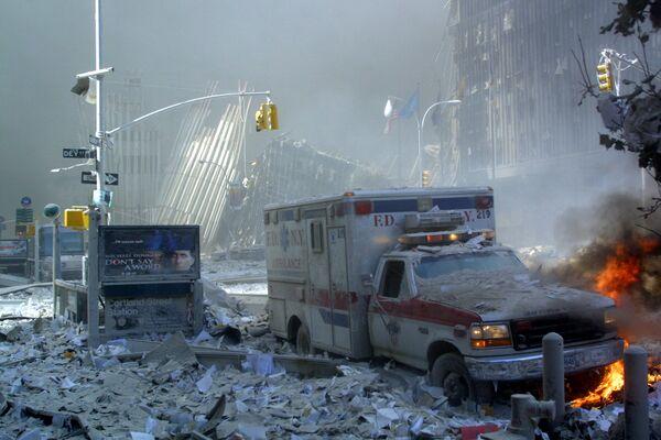 Sur le site de l'effondrement de la tour WTC1 à New York.  - Sputnik France