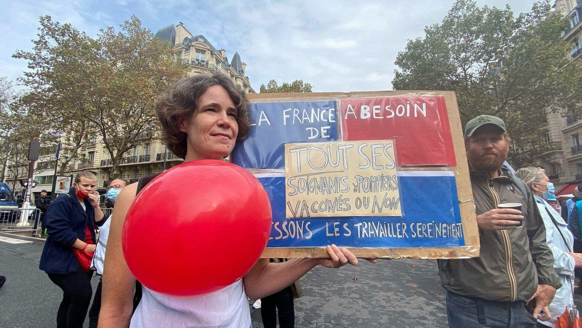 Manifestation de soignants contre obligation vaccinale à Paris, le 14 septembre - Sputnik France, 1920, 14.09.2021