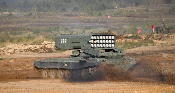 Lance-roquettes multiple lourd TOS-1A Solntsepek lors des exercices Zapad 2021 sur le terrain d'entraînement de Moulino, dans la région de Nijni Novgorod. - Sputnik France