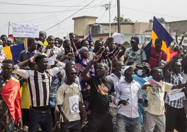 Manifestation à N'Djaména contre la junte qui dirige le Tchad depuis la mort d'Idriss Déby, le 11 septembre 2021