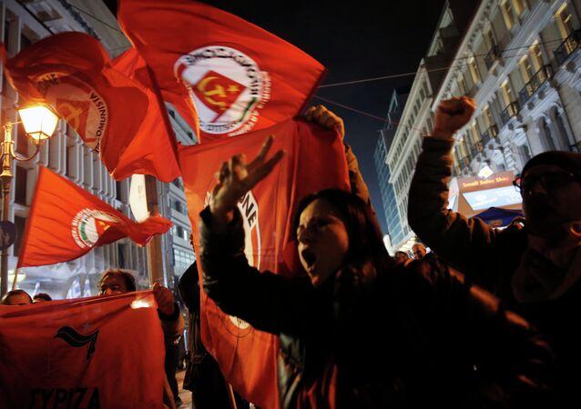 Partisans du parti de la gauche radicale Syriza
