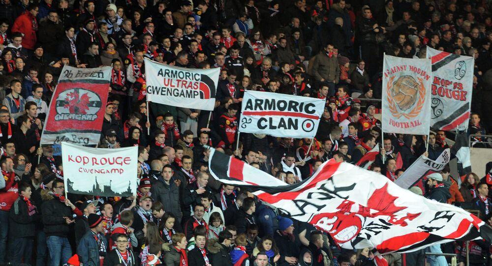 Les supporters du club de football français de Guingamp