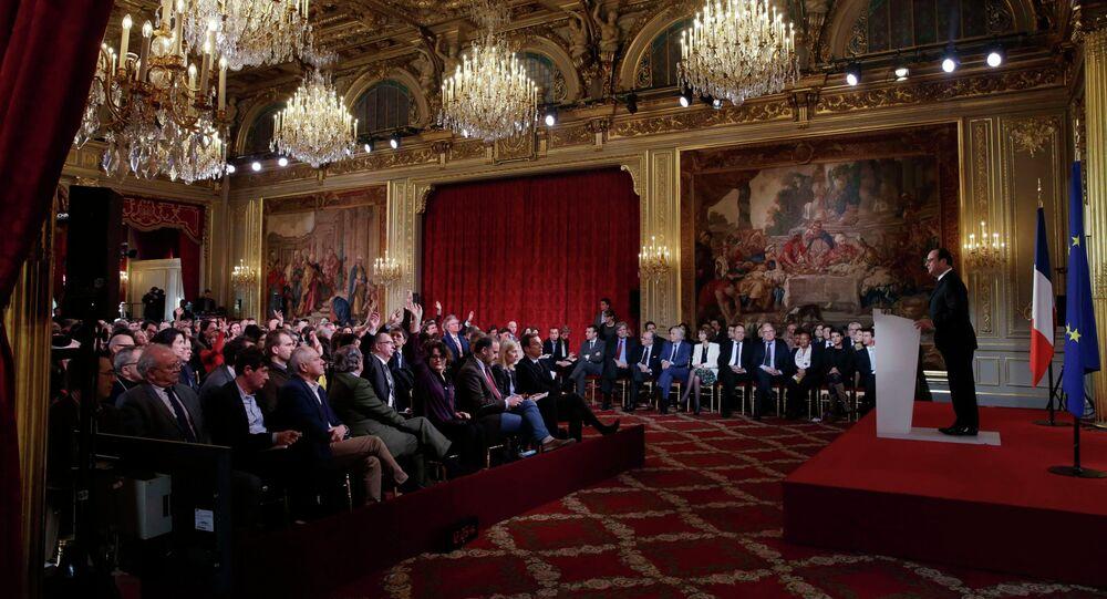 François Hollande lors d'une conférence de presse à l'Elysée