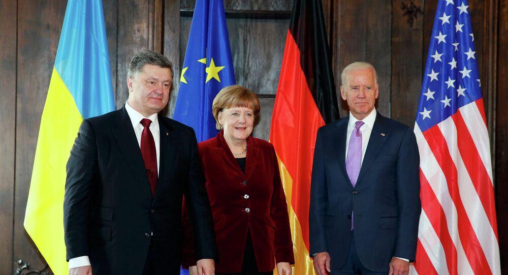 Le président ukrainien Piotr Porochenko, la chancelière allemande Angela Merkel et le vice-président américain Joe Biden