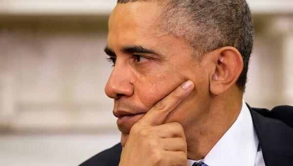 President Barack Obama listens as Jordan's King Abdullah II speaks during their meeting on Friday, Dec. 5, 2014, in the Oval Office of the White House in Washington. - Sputnik France